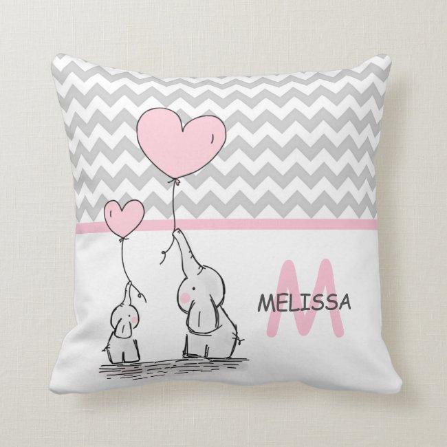 Personalized Elephant Pink Grey Chevron Nursery Throw Pillow