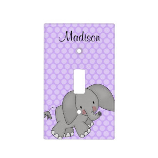 Personalized Elephant Purple Polka Dot Kids Light Switch Cover