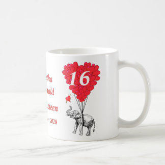 Personalized elephant Sweet Sixteen Classic White Coffee Mug