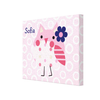 Personalized Ellie/Ella Elephant Owl Canvas Art