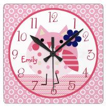 Personalized Ellie/Ella Owl Nursery Clock