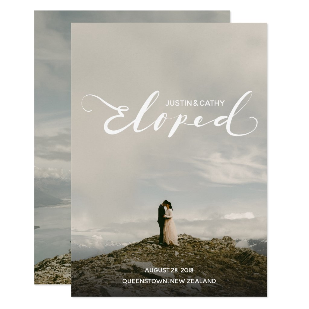 Personalized Eloped Names Marriage Announcement