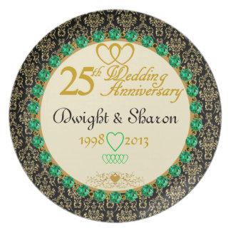 PERSONALIZED Emerald 25th Anniversary Plate