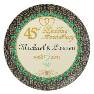PERSONALIZED Emerald 45th Anniversary Plate