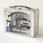 """Personalized EMT Emergency Medical Technician Metal Lunch Box<br><div class=""""desc"""">Featuring an ambulance,  a caduceus,  and the letters EMT,  this design is an awesome personalized gift for those life-saving men and women we all count on - Emergency Medical Technicians.</div>"""