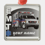 Personalized EMT Square Metal Christmas Ornament