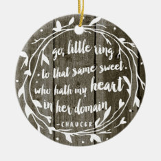 Personalized Engagement Keepsake | Rustic Vintage Ceramic Ornament at Zazzle
