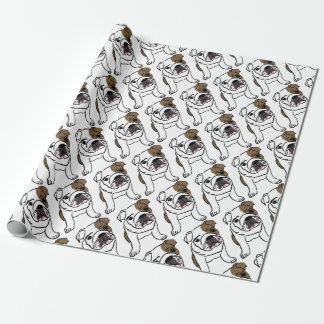 Personalized English Bulldog Puppy Wrapping Paper