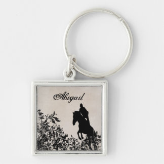 Personalized English Jumping Horse Vintage Floral Silver-Colored Square Keychain