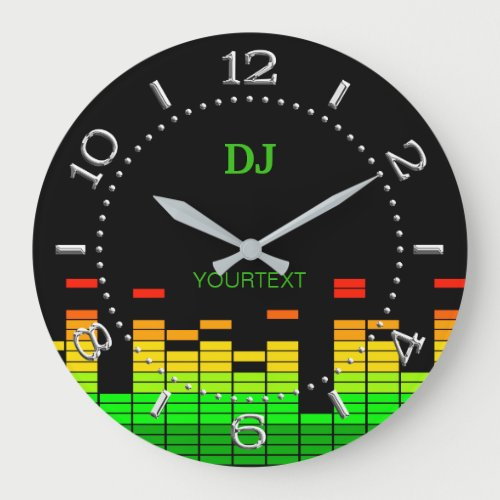 Personalized Equalizer Vibes Beat of DJ Music on a Large Clock