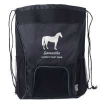 Personalized Equestrian Horse & Riders Custom Name Drawstring Backpack