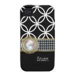Personalized Eternity Circles iPhone 4 Case -black
