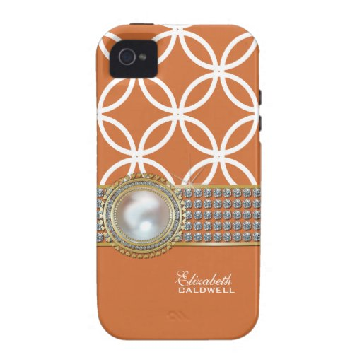 Personalized Eternity Circles iPhone 4 Case-peach
