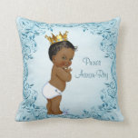 "Personalized Ethnic Prince Blue Leaves Throw Pillow<br><div class=""desc"">Elegant personalized ethnic baby boy vintage prince blue throw pillow with a beautiful vintage illustration of a cute and adorable African American baby boy with stylish gold crown, white diaper and cute bunny rabbit slippers on a chic blue background with a classy, ornate leaves, swirls and flourishes border. Beautiful, whimsical,...</div>"