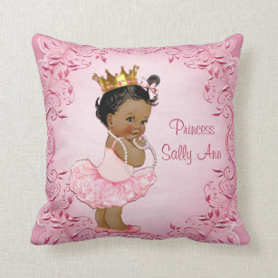African american baby girl gifts on zazzle personalized ethnic princess ballerina pink throw pillow negle Choice Image