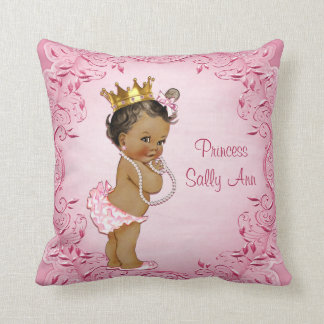 Personalized Ethnic Princess Glamorous Pink Throw Pillow