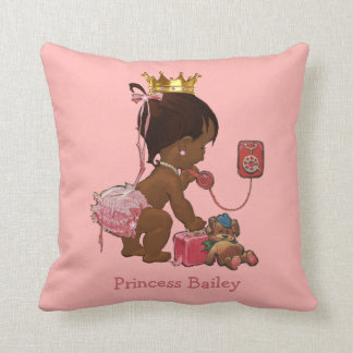 Personalized Ethnic Princess on Phone Teddy Bear Throw Pillow