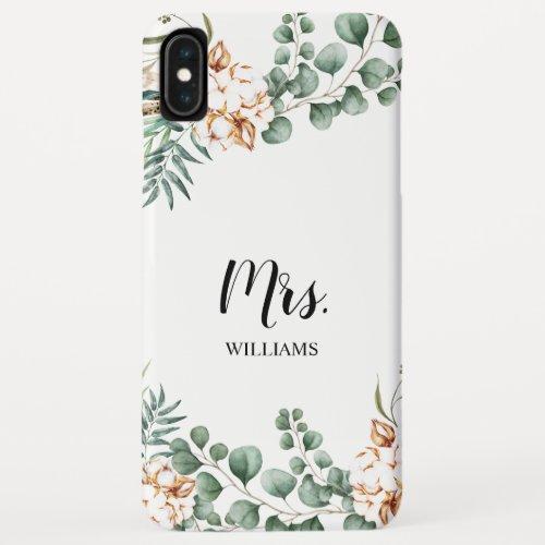 Personalized Eucalyptus Boho Leaves Greenery Mrs Phone Case