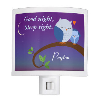 Personalized Evening Owls in Blue Night Light