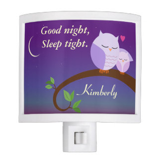 Personalized Evening Owls in Purple Nite Lites