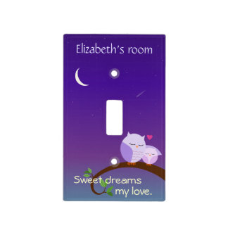 Personalized Evening Owls in Purple Light Switch Covers