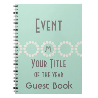 Personalized Event of the Year Mint Guest Book Spiral Notebook