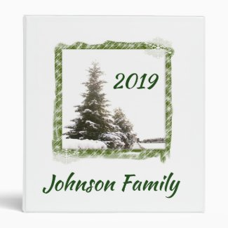 Personalized Evergreen Trees 3 Ring Binder