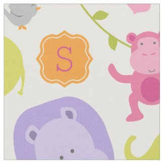 Personalized Fabric | Jungle Animals for Girl