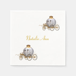 Personalized Fairy Tale Princess Carriage Paper Napkin