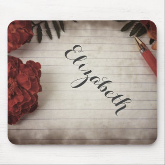 Personalized Fall Floral Design with Pen and Paper Mouse Pad