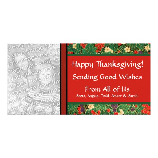 Personalized Fall Thanksgiving Leaves and Berries Customized Photo Card