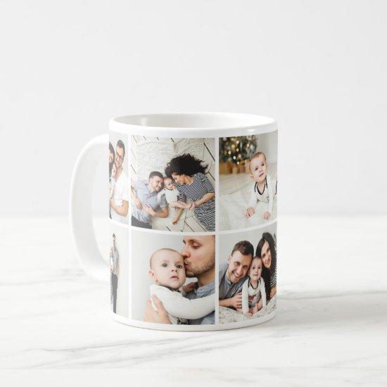 Personalized Family 10 Photo Collage Coffee Mug