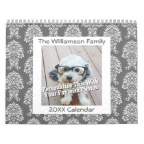 Personalized Family 17 Photo and Colorful Patterns Calendar