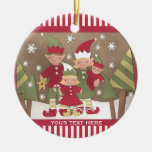Personalized Family (4) Christmas Greeting Ceramic Ornament