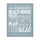 Personalized Family Beach House Rules Blue   White Canvas Print