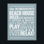 "Personalized Family Beach House Rules Blue | White Canvas Print<br><div class=""desc"">Trendy beach themed wall art in a soft sun-washed denim blue with lettering in white. Customize with your family name and let everyone know the &quot;rules&quot; of the beach house that need to be followed. From building sandcastles to searching for seashells, the order of the day is to RELAX! Available...</div>"