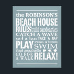 """Personalized Family Beach House Rules Blue 