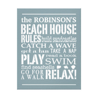 Personalized Family Beach House Rules Blue | White Canvas Print