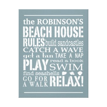 kat_parrella Personalized Family Beach House Rules Blue | White Canvas Print