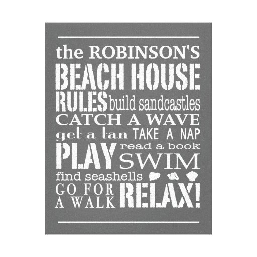 Personalized Family Beach House Rules Gray | White Gallery Wrap Canvas