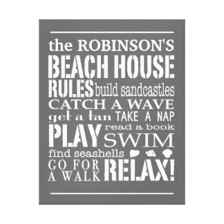Personalized Family Beach House Rules Gray | White Canvas Print