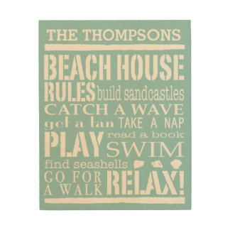 Personalized Family Beach House Rules Wood Wall Decor