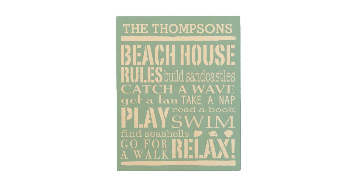 Personalized Family Beach House Rules Wood Wall Decor ...