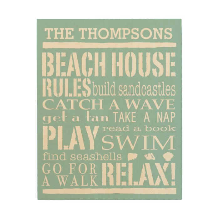 Personalized Family Beach House Rules Wood Wall Decor | Zazzle