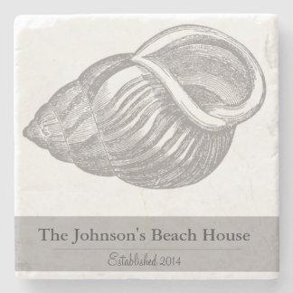 Personalized Family Beach House Seashell Coasters