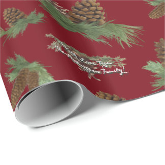 Personalized Family Christmas Pine Cone Boughs Wrapping Paper