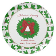 Personalized Family: Christmas Wreath Plate