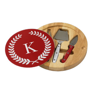 Personalized Family Crest Monogram Red White Round Cheese Board