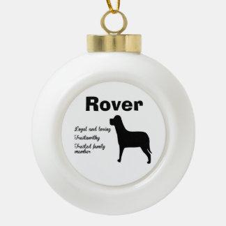 Personalized Family Dog Ceramic Ball Christmas Ornament