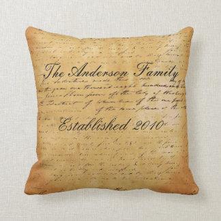 Personalized Family Established Date Ephemera Pillows